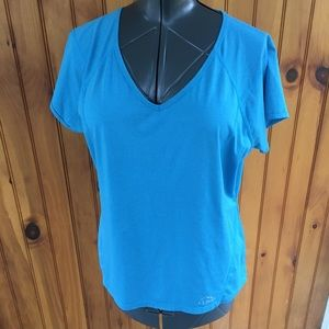 L LBean woman's xl v neck blue workout top